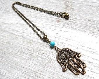 hamsa necklace boho necklace pendant necklace turquoise necklace boho jewelry bohemian necklace turquoise jewelry gypsy necklace bronze  M