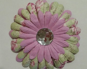 Paper Flower with a Rhinestone Center Pin and Hair Clip-new
