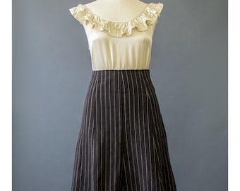 Vintage 90s Skirt Black Mini Skirt Striped Skirt A Line Skirt Grunge Skirt Black Skirt Pinstripe Skirt Flare Skirt Goth Skirt 1990s Skirt M