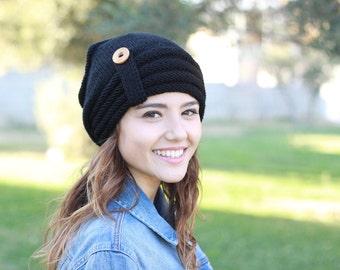 Black Slouch hat, Women Black hat, Black knit hat, Black women hat, Black slouch beanie, Black winter hat, Black wool hat, Black hat slouchy