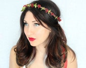 SALE Holiday Headband, holly,green red, flower Crown, Christmas, Winter Headpiece, Holiday accessory, floral crown, christmas Wedding,