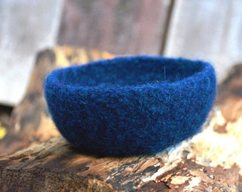 Felted Wool Bowl in Deep Blue with Green Flecks