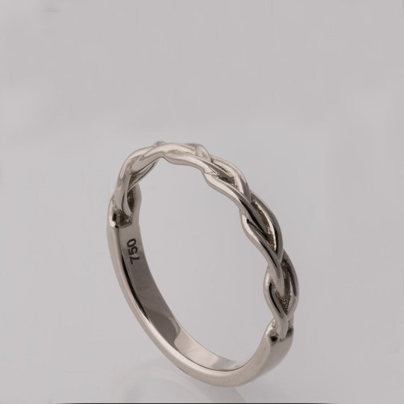 braided ring no 4 14k white gold stackable ring by doronmerav