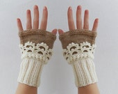 Fingerless gloves. Women Knit  Arm Wrist Warmers, winter Crochet  mittens, Cream Beige