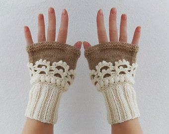 Fingerless gloves. Women Knit  Arm Wrist Warmers, winter Crochet  mittens, Cream Beige