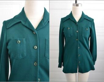 1970s Queen Casuals Emerald Knit Shirt