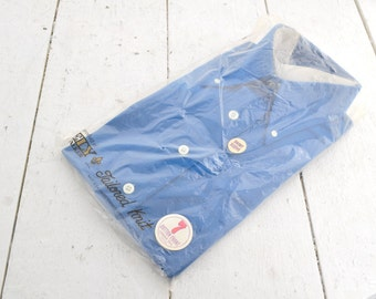 1970s NOS Ely & Walker Blue Men's Shirt in Original Packaging