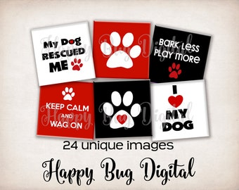 All About DOGS Digital Collage Sheet - 1 inch Squares for Glass Tile Pendants INSTANT DOWNLOAD