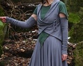 Aglæcwif Outfit ~ Long Double Layer Skirt with Stacia Top, Aglæcwif Wrap & Armwarmers ~ Made to Measure ~ Cotton Jersey ~ Faerie Wear ~