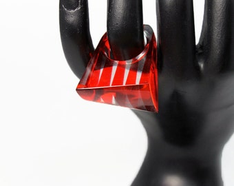 Laminated Striped Lucite Ring, Red Stripes, Size 6