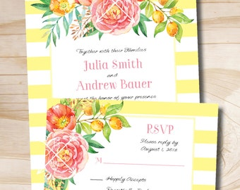 Summer Stripe Watercolor Floral Wedding Invitation and Response Card Invitation Suite