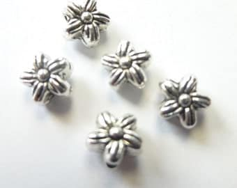 Tibetan Silver Violet Flower Spacer Beads 7mm/Qty 18