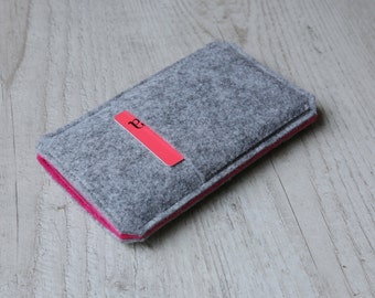 iPhone 7 Plus iPhone 7 sleeve case pouch cover handmade iPhone 7 Plus sleeve iPhone 7 case light felt and pink with pocket