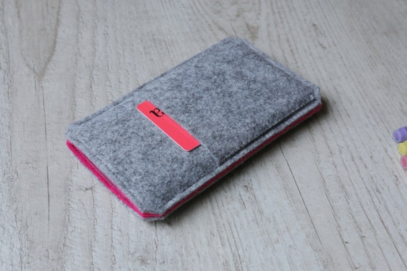 iPhone SE, iPhone 6s Plus, 6 Plus, iPhone 6s, 6, iPhone 5 sleeve case pouch handmade light felt and pink with pocket