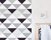 Triangle Wallpaper, Black and White, Kids , Monochrome, Wall sticker, Self-Adhesive, Peel and Stick Wallpaper. Black Triangles Wallpaper