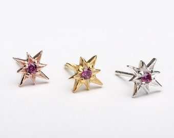 Purple Garnet Starburst Stud Earrings, Sterling Silver, Gold Plated, North Star Earrings, Minimal Lunaijewelry, Handmade  Gift STD049PGR