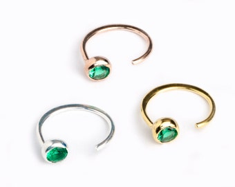 Dainty Lab Emerald Hug Hoops, Sterling Silver Gold Plated, Gemstone Hug Earrings, Open Hoops, Minimalist   Gift for her, Lunai, EAR039LEM
