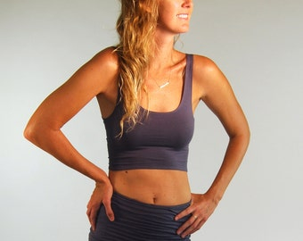 Cropped Yoga Layering Tank Top for Women - Gray - Eco Friendly - Fitted - Organic Clothing