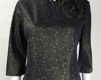 Original Vintage 1980s Green Chinese Style Blouse UK Size 12