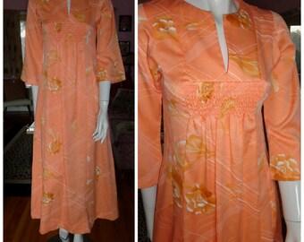 1960s Mod Hawaiian Dress Vintage Peachy Poly Hostess Gown Flowers Hippie Festival Bell Sleeves Empire Waist Boho Maxi Floral 1960s 70s Sm