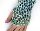 Fingerless Gloves - Blue Piping - Blue, Purple, Brown, Fingerless Gloves, Wrist Warmer, Hand Warmer