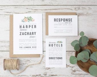 Wedding Invitation Suite - Succulent, Floral watercolor, Modern Design, grey pink grey, Printed Invites (1122)