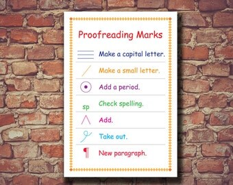 Proofreading Marks Poster, Proofreading Marks Print, Proofreading Marks Printable, Educational Poster, Classroom Poster, Instant Download