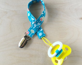 Pacifier Clip - Turquoise Floral