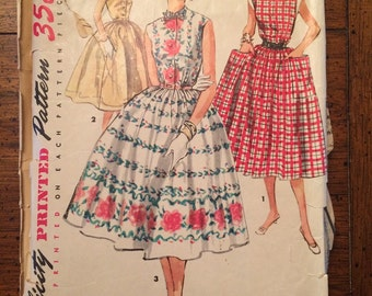 1084 1950's Simple to Make Dress Vintage Sewing Pattern Simplicity 1084 Bust 32