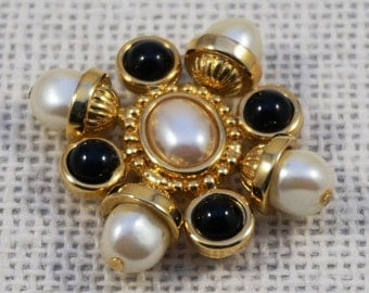 Classic St. John Gold Tone Faux Pearl and Black Cabochon Brooch