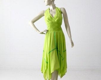 1970s gauze cotton halter dress with handkerchief hem, vintage sundress