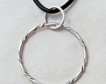 """Sterling Silver Eyeglasses Twisted Wire Satin Ring """"A"""" Pendant Handmade"""