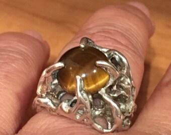 MENS BRUTALIST Handmade Tigers Eye STERLING Silver Ring Heavy Large 13.1 grams Size 8.75 Stone Gemstone