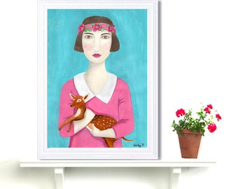 Fantasy Portrait Flapper Girl Holding Deer Art Print Acrylic Painting Digital Print Wall Art Decor Turquoise Drawing Naive Portrait Woman