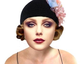 Boho Hat, Flapper Hat, Crochet Hat, Black Knit Hat, Cloche Hat, 1920s Hat, Great Gatsby, Black Cloche Hat, Beanie, Retro Hat, Gift For Her