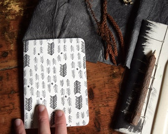 SALE Fir Arrow Letterpress Notebook / A6 notebook / blank notebook / travel journal / small notebook / handcrafted notebook
