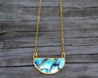 Abalone and Gold Half Moon . Necklace