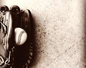 Baseball Sports Glove Boy's room sepia - 12 x 12 art photography print by Dawn Smith