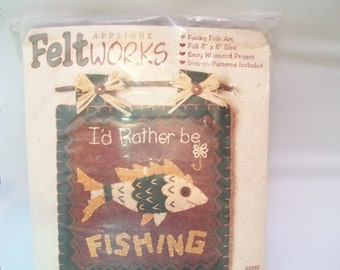 Vintage Craft Kit, Feltworks, Dimenions Kit, I'd Rather Be Fishing, 8 inches by 8 inches, Felt Kit, Unopened Package, Needlecrafts,