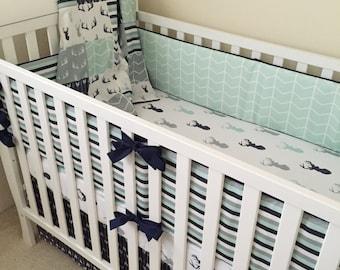 Deer Crib Bedding Boy Woodland Baby Arrow Skirt