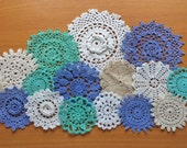 16 Vintage Doilies in Green, Blue and Cream, Hand Dyed 2 to 5 inch Craft Doilies, Small Crochet Mandalas for Decorating and Crafts