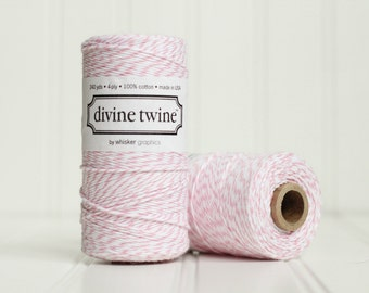 1 Spool (240 yds) of Light Pink Cotton Candy Baker's Twine - 4-ply, 100% Cotton, Gift Wrap, Packaging, Scrapbooking, etc.