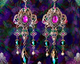 """Fuchsia Pink & Emerald Green Renaissance Filigree Earrings, Gypsy Fortune Teller Chandelier Earrings, Clip-On Option, Ornate Jewelry, 4"""""""