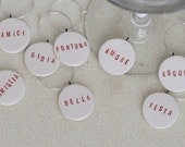 RESERVED Italian Ceramic Wine Glass Charms