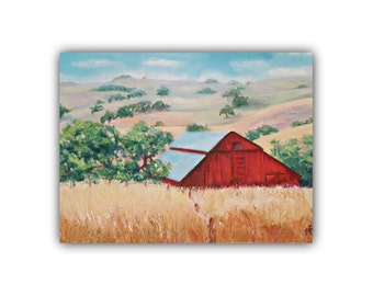 Oil Painting, RED BARN Original Oil Painting, ETSY, farm, Barn, red, wheat field, trees, hills, landscape, barn, signed by the artist