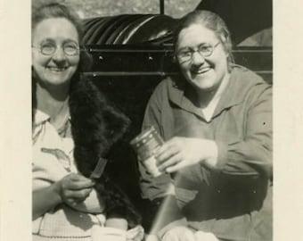 "Vintage Photo ""Sharing Food and Giggles"" Smiling Snapshot Antique Photo Old Black & White Photograph Found Paper Ephemera Vernacular - 6"