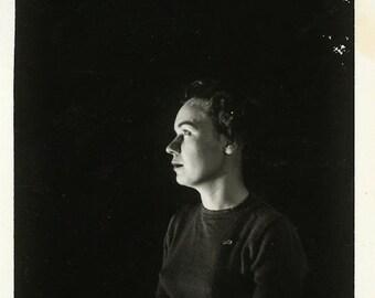 "Vintage Photo ""The Dramatic Woman"" Snapshot Photo Old Antique Photo Black & White Photograph Found Paper Ephemera Vernacular - 167"