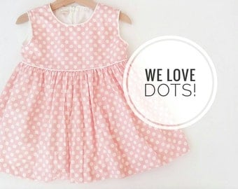 Little Girl Pink Dress, Pink and White Polka dots Baby Dress and ruffles diaper cover, Baby Sleeves Summer Dress