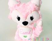 Stuffed Fox (Pinky Pie): Plush Fox, Stuffed Fox, Fox Pillow, Foxy, Woodland, Foxes, Stuffed Animal, Mint, Heart, Toy, Baby, Custom, Handmade
