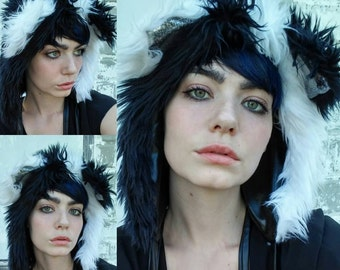 Black & White Furry Light Up Raver Hood